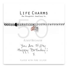 "Life Charms Bracelet - "" You Are FIFTY, Happy Birthday! x "" - Beautifully Gift Boxed"